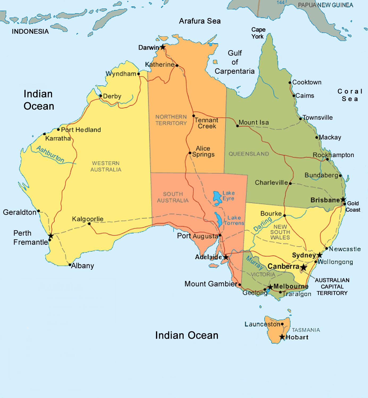 Cartina Australia Politica.Australia Mappa Politica